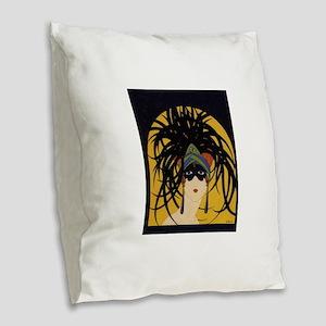 Art Deco Lady Burlap Throw Pillow