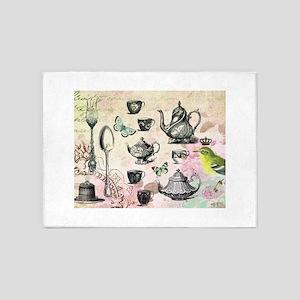Vintage French Garden tea party 5'x7'Area Rug