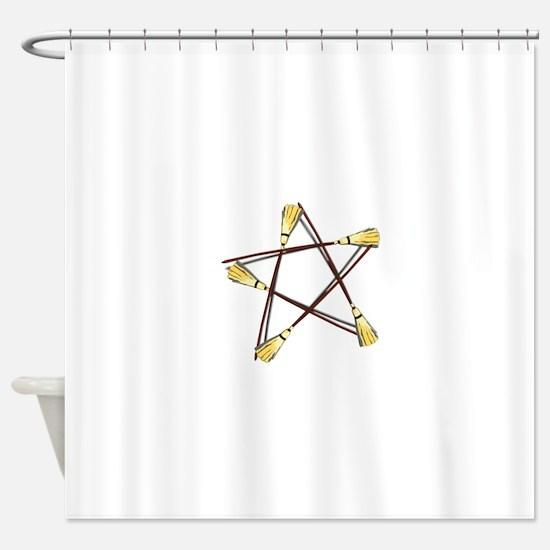 Besom Pentagram.png Shower Curtain