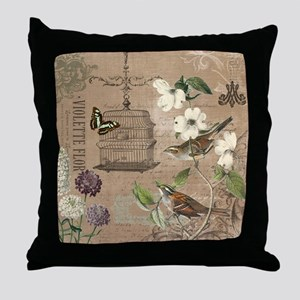 Modern vintage French birds and birdcage Throw Pil