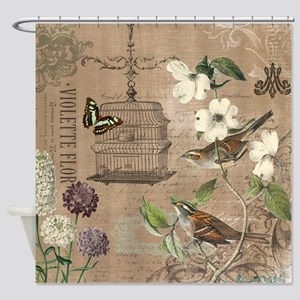 Modern vintage French birds and birdcage Shower Cu
