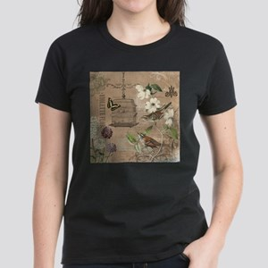 Modern vintage French birds and birdcage T-Shirt