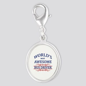 World's Most Awesome Bus Driver Silver Oval Charm