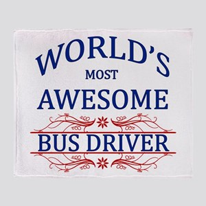World's Most Awesome Bus Driver Throw Blanket