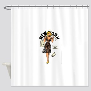 Vintage New York Pinup Shower Curtain