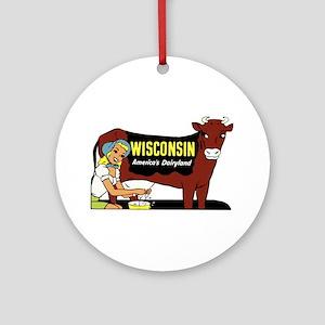 Vintage Wisconsin Dairyland Ornament (Round)