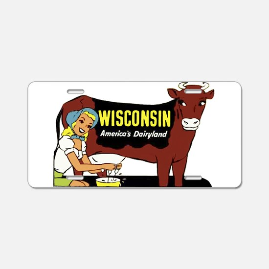 Vintage Wisconsin Dairyland Aluminum License Plate