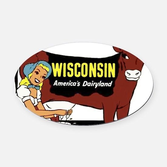 Vintage Wisconsin Dairyland Oval Car Magnet