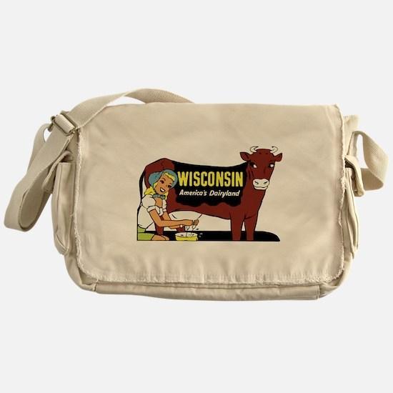 Vintage Wisconsin Dairyland Messenger Bag