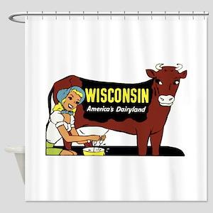 Vintage Wisconsin Dairyland Shower Curtain