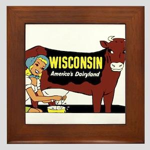 Vintage Wisconsin Dairyland Framed Tile