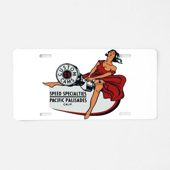 Vintage Custom Cam Pinup Aluminum License Plate