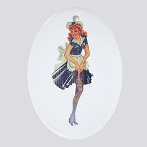 Faded Pinup Maid Ornament (Oval)