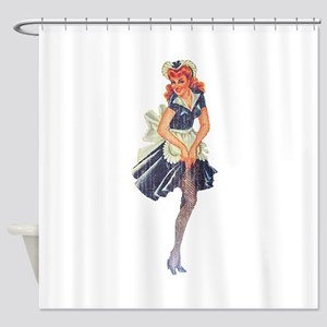 Faded Pinup Maid Shower Curtain