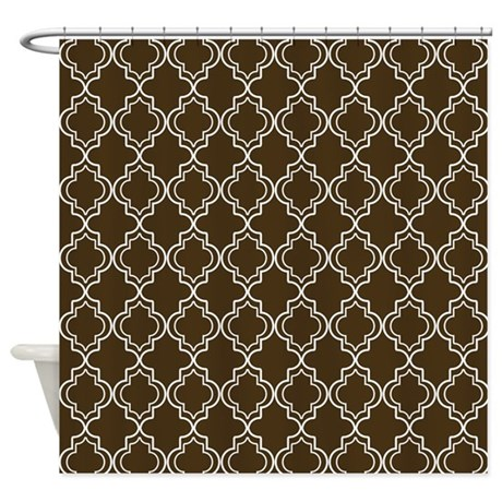 Brown Moroccan Quatrefoil Shower Curtain by HHTrendyHome