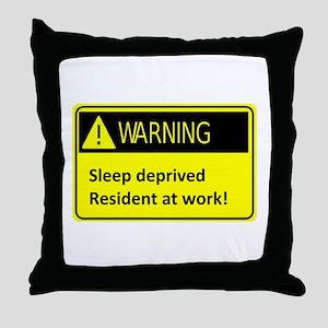 Ssleep deprived resident at work Throw Pillow