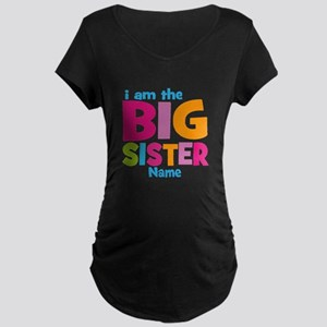 Big Sister Personalized Maternity Dark T-Shirt