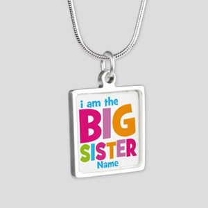 Big Sister Personalized Silver Square Necklace