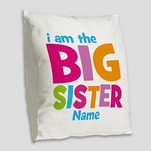 Big Sister Personalized Burlap Throw Pillow