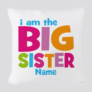 Big Sister Personalized Woven Throw Pillow