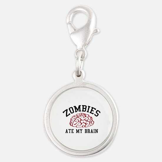 Zombies Ate My Brain Silver Round Charm