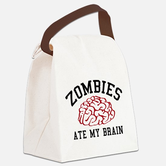 Zombies Ate My Brain Canvas Lunch Bag