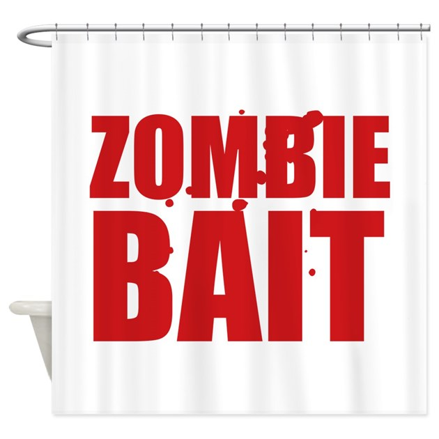 Zombie bait shower curtain by funniestsayings for Zombie bathroom decor