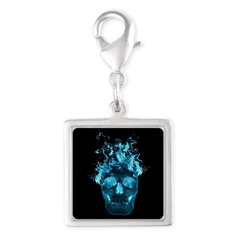 Blue Fire Skull Charms