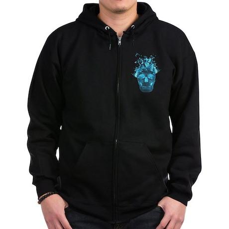 Blue Fire Skull Zip Hoodie
