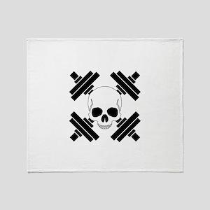 Skull and Crossbone Dumbbells Throw Blanket