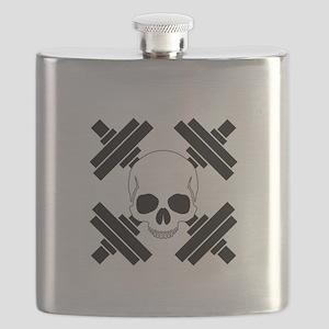 Skull and Crossbone Dumbbells Flask