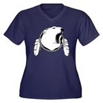 Tribal Bear Women's Plus Size V-Neck Dark T-Shirt