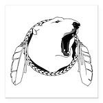 "Native Art Tribal Bear Square Car Magnet 3"" x"