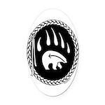 Native Art Tribal Bear Oval Car Magnet
