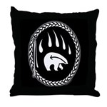 Native Art Tribal Bear Throw Pillow