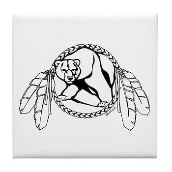Native Art Tribal Bear Tile Coaster