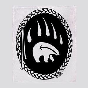 Native Art Tribal Bear Throw Blanket
