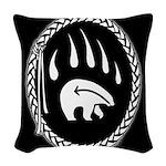 Native Art Tribal Bear Woven Throw Pillow