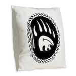 Native Art Tribal Bear Burlap Throw Pillow