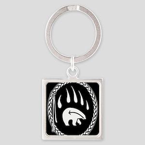 Native Art Keychain Tribal Bear Square Keychain