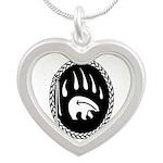 Native Art Tribal Bear Silver Heart Necklace