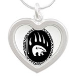 Tribal Bear Claw Silver Heart Necklace