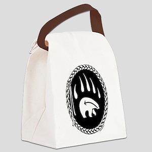 Native Art Tribal Bear Canvas Lunch Bag