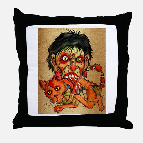 zombie eating bacon cat Throw Pillow