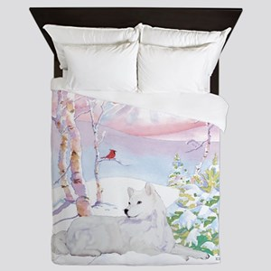 samoyed_winter_scene Queen Duvet