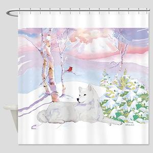 samoyed_winter_scene Shower Curtain