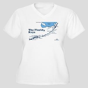Florida Keys - Map Design. Women's Plus Size V-Nec