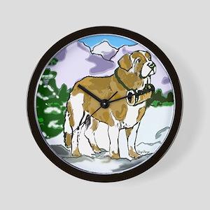 saint bernard in the mountains Wall Clock