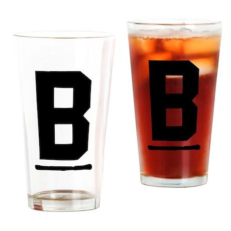 "Initial ""B"" w/o frame / black Drinking Glass"