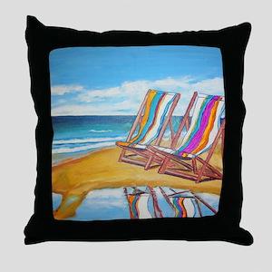 Beach Chair Reflection Throw Pillow